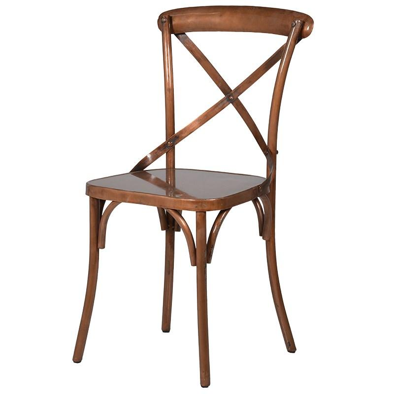 Good Distressed Copper Cross Back Dining Chair