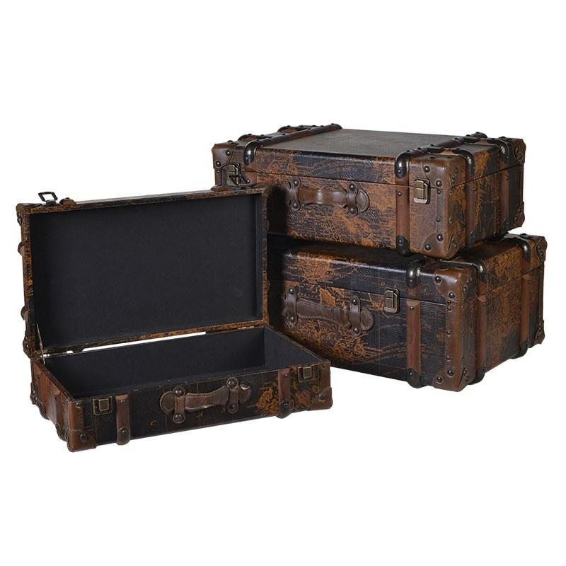 Set of 3 faux leather world map trunks mulberry moon set of 3 faux leather world map trunks gumiabroncs Gallery