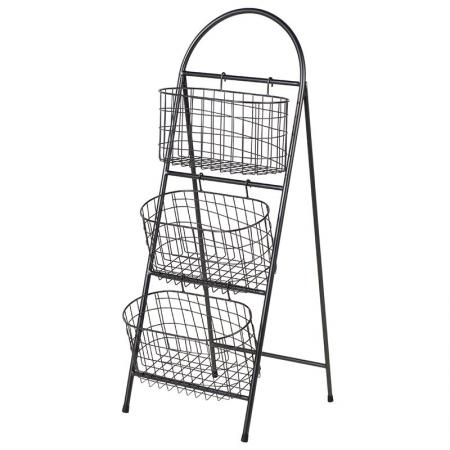 3 Wire Baskets on a Metal Rack