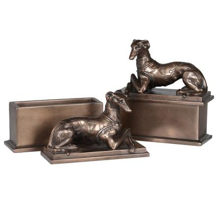 Bronzed Greyhounds on Boxes Sculptures