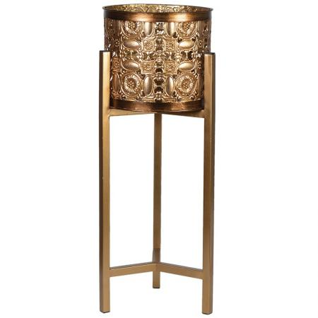 Small Gold Iron Fretwork Plant Stand