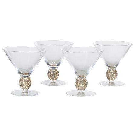 Set of 4 Gold Diamante Ball Cocktail Glasses
