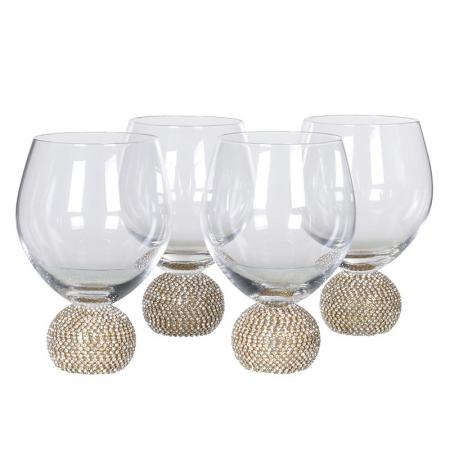 Set of 4 Gold Diamante Ball Wine Glasses