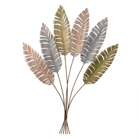 Huge Metal Gold Feather Wall Sculpture