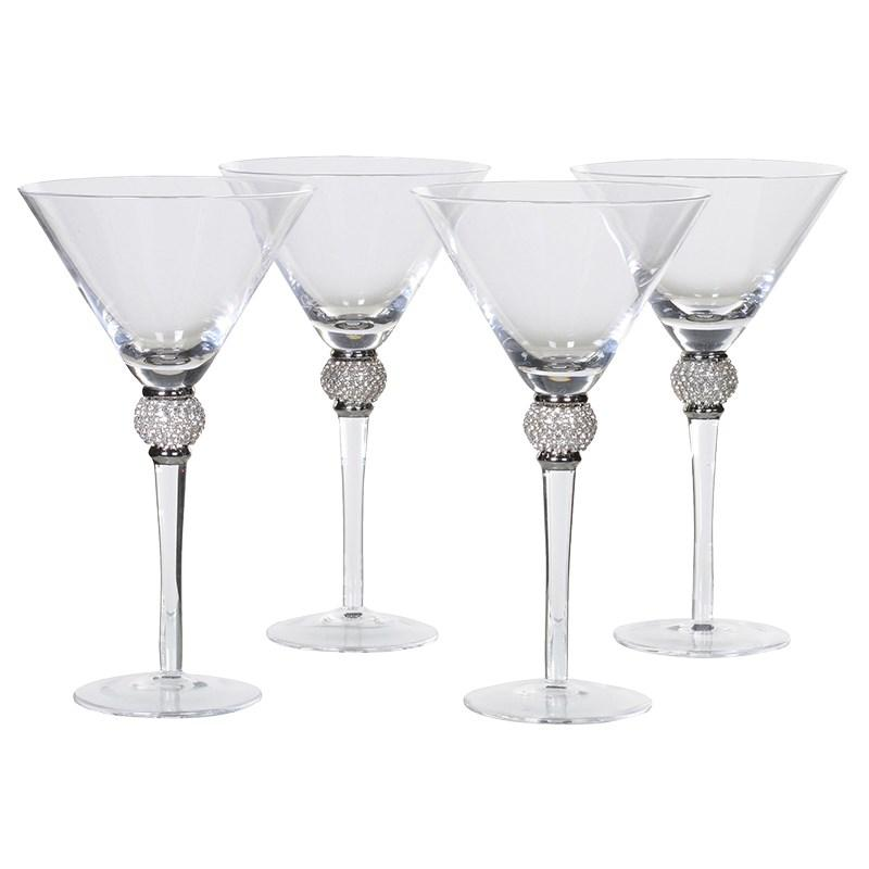 Set Of 4 Silver Diamante Ball Martini Glasses Mulberry Moon