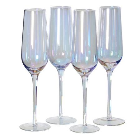 Set of 4 Iridescent Champagne Flutes