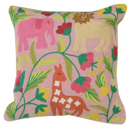 Crewel Work Pink Jungle Cushion Cover