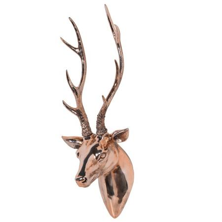 Large Hanging Copper Deer Head Sculpture