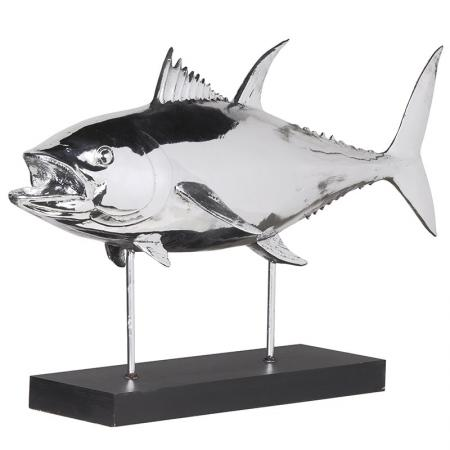 Large Silver Fish Sculpture on a Stand