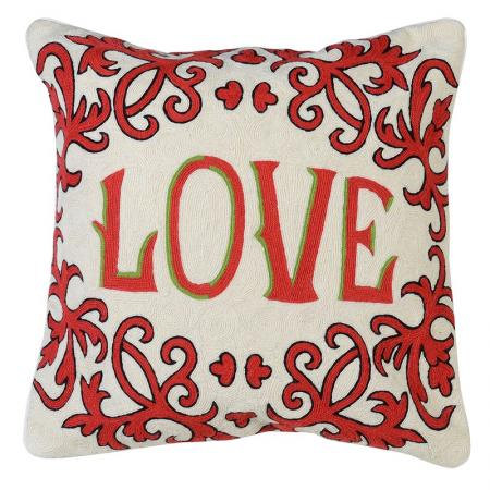 Crewel Work Cream & Red LOVE Cushion Cover