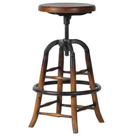 Adjustable Round Wood & Iron Bar Stool
