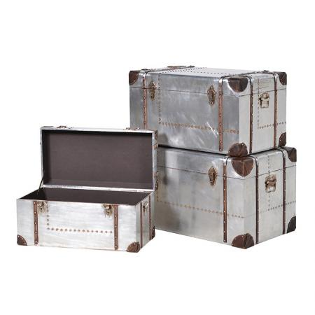Set 3 Silver Aluminium Trunks with Wood Trim
