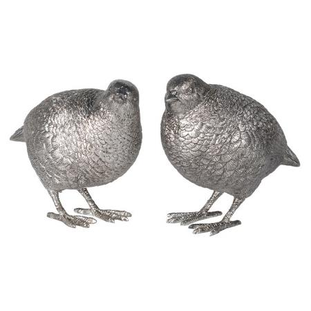 Set of 2 Silver Quail Bird Sculptures