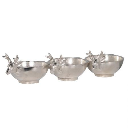 A Trio of Silvered Reindeer Nibbles Dishes