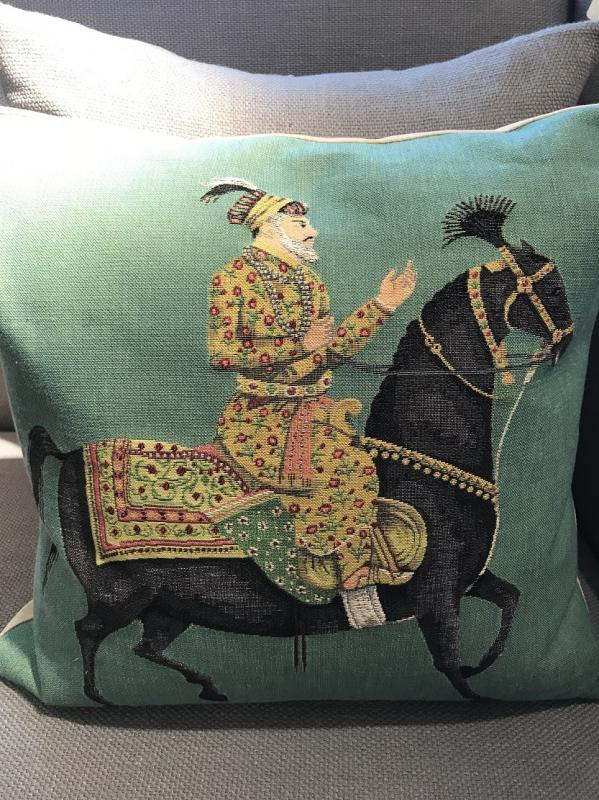 Green  Indian Horse Feather Filled Cushion