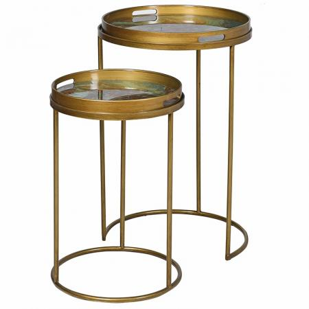 Set of Two Round Gold Marble Effect Tray Tables
