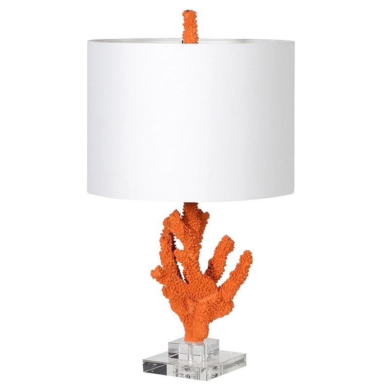 Orange 'Coral' Table Lamp with White Shade