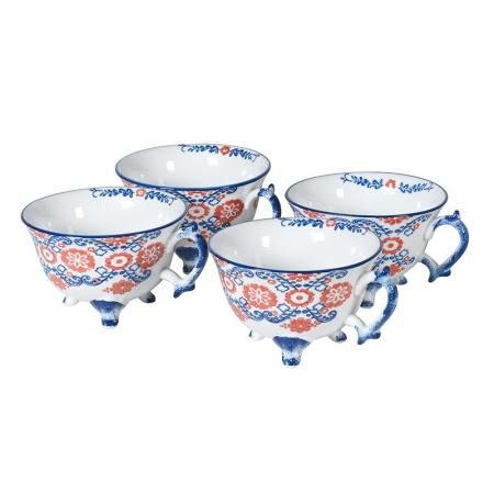 4 Ceramic Blue and Red Patterned Teacups