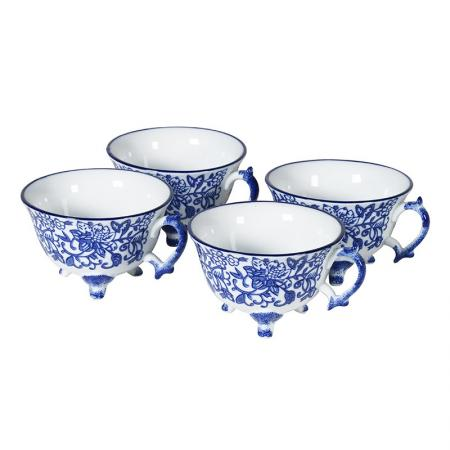 4 Ceramic Blue and White Patterned Teacups