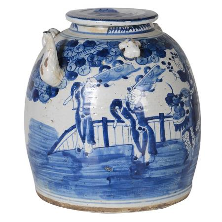 Hand Painted Ceramic Kettle Chinoiserie Design