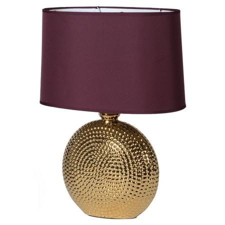 Gold Ceramic Table Lamp with Aubergine Shade