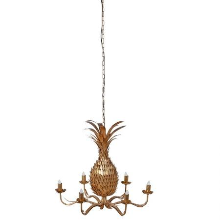 6 Arm Ornate Golden Pineapple Chandelier