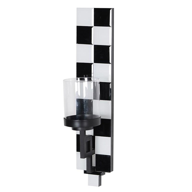 Black and White Checkered Wall Sconce
