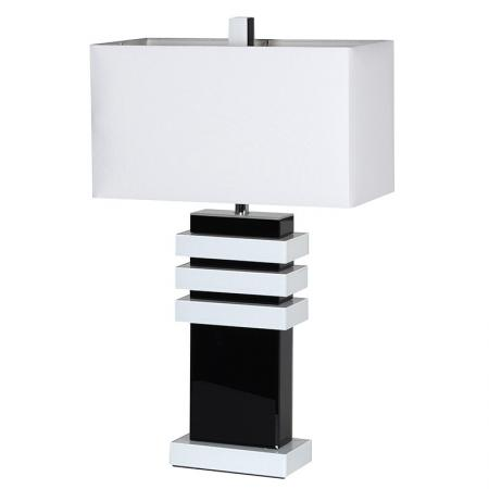 Modern Black Mirrored and White Gloss Table Lamp