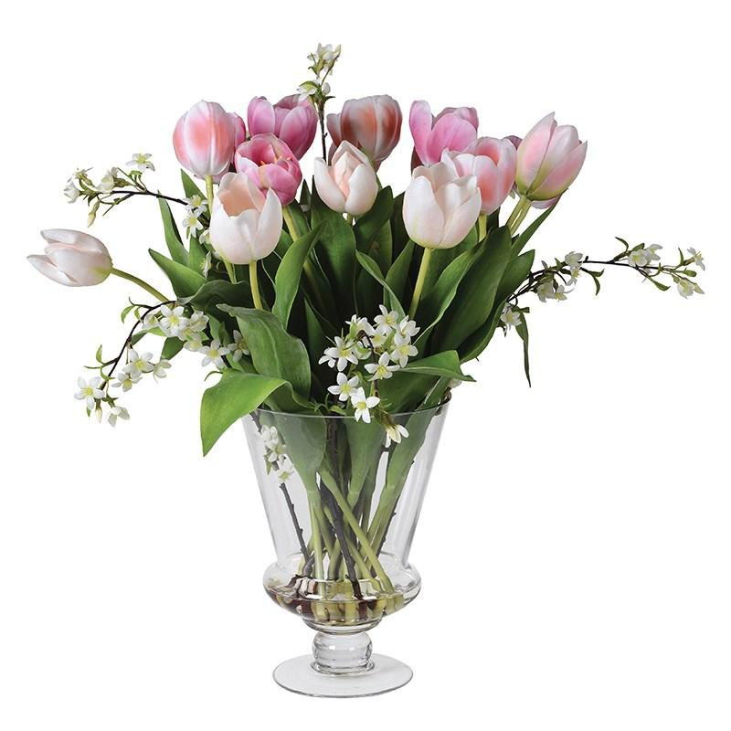 Artificial Shades of Pink Tulips & Blossom in Vase