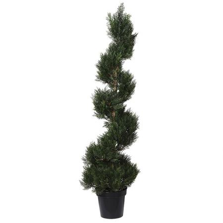 Green Outdoor Cedar Spiral Topiary Tree