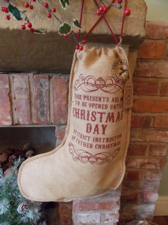 Vintage Hessian Not To Be Opened Christmas Stocking