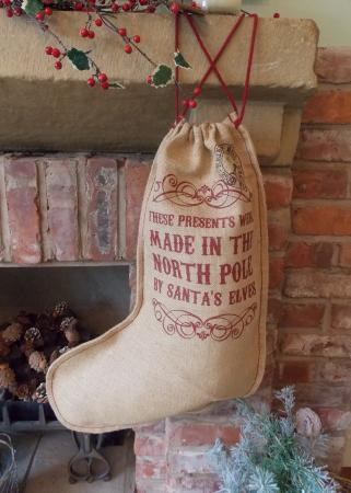 Vintage Hessian Made in North Pole Christmas Stocking