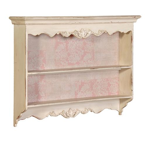 French Wooden Shabby Chic Vintage Pink Carved Shelving Unit Mulberry Moon