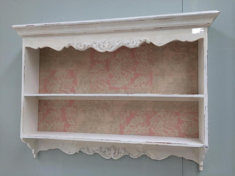 French wooden shabby chic vintage pink carved shelving unit mulberry