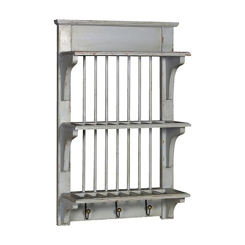 Green Grey Shabby Chic Painted Kitchen Plate Rack