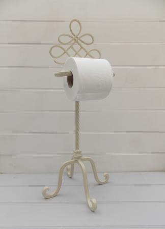 Cream Ornate Toilet Roll Holder Iron Stand