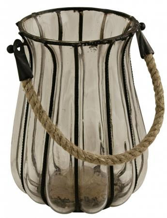 Rope & Glass Candle Holder Hurricane Lamp Lantern