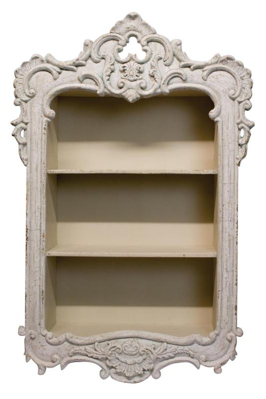 French Style Wooden Shabby Chic Carved Storage Shelving