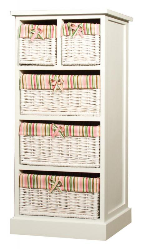 Bathroom Storage Cabinet With 5 Stripe Baskets Mulberry Moon