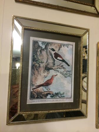 Antique Mirrored Frame Springtime Birds Picture
