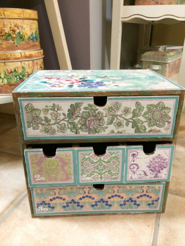 Shabby chic mini wooden vintage floral craft storage box mulberry