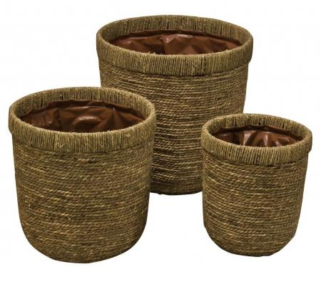 Set of 3 Round Sea Grass Storage Baskets