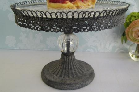 Grey Metal Filigree Crystal Cake Stand
