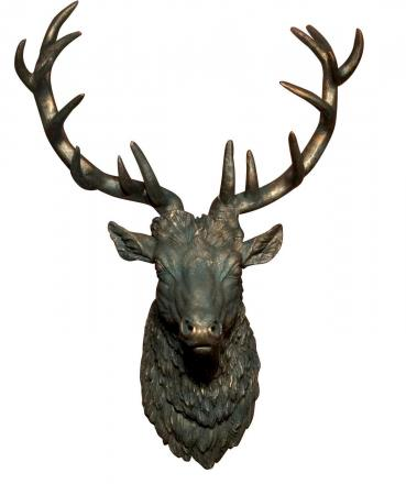 Huge Antique Stag Head Deer Wall Hanging Sculpture