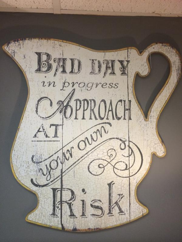 shabby chic white wooden jug bad day sign mulberry moon. Black Bedroom Furniture Sets. Home Design Ideas