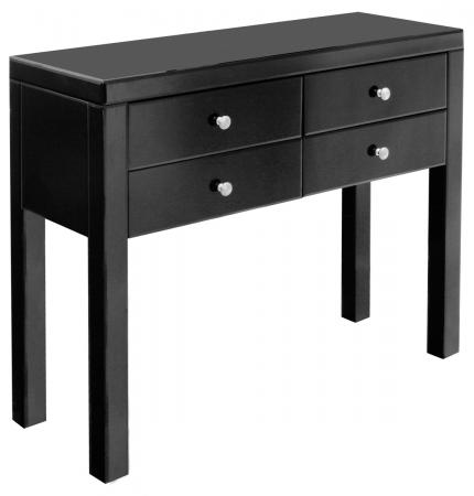 Black Glass Four Drawer Console Table