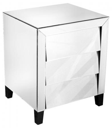 Mirrored Three Drawer Bedside Table