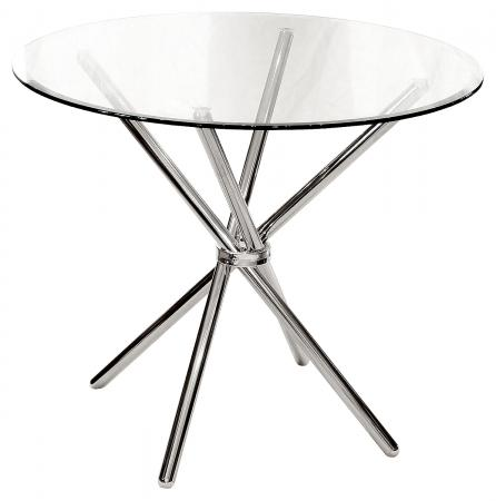 Chrome Criss-Cross Base Glass Top Table