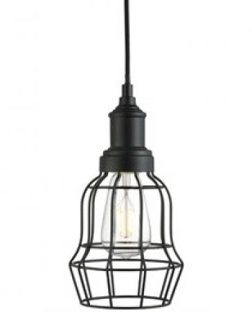 Matt Black Finish Cage Pendant Light Fitting
