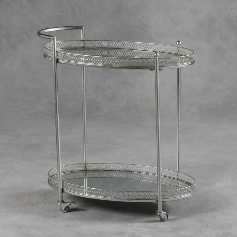 Antique Silver Metal Hostess Trolley